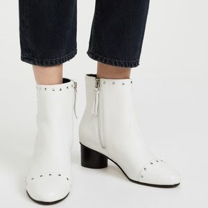 REBECCA MINKOFF ISLEY white leather ankle boots